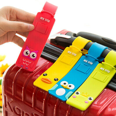 Cartoon Travel Luggage Tags Name Address ID Card Suitcase Bag Baggage Labels