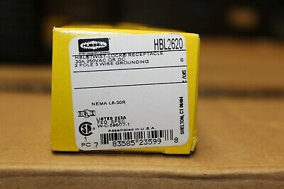 NEW in box -  HUBBELL2620 RECEPTACLE 30A 250V 2 Pole 3 Wire