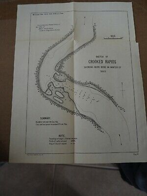 "Antique Map ""Sketch of Crooked Rapids-showing Work Done in Winter of 1890-01"""