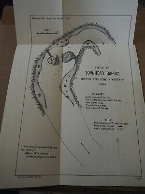 "Antique Map ""Sketch of Tow-Head Rapids-showing Work Done in Winter of 1890-01"""
