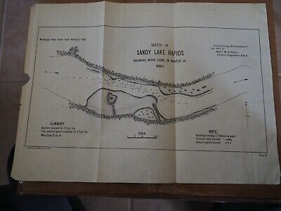 "Antique Map ""Sketch of Sandy Lake Rapids-showing Work Done in Winter of 1890-01"""