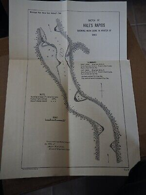 "Antique Map ""Sketch of Hale's Rapids-showing Work Done in Winter of 1890-01"""