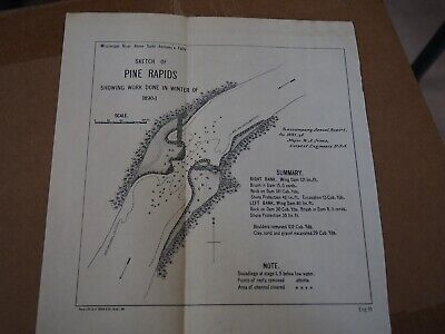 "Antique Map ""Sketch of Pine Rapids-showing Work Done in Winter of 1890-01"""