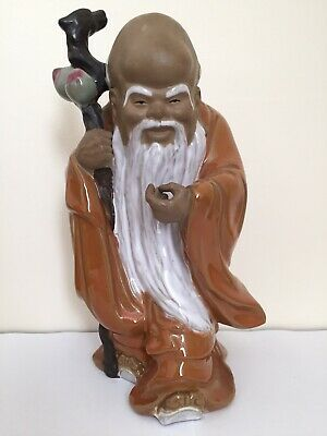 Vintage Wise Old Man Shou Lao Xing Immortal Mud Man Peaches Staff