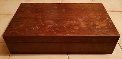 Very Large Double Layer Oak Wooden Cutlery Canteen Box - Upcycle Or Refurbish