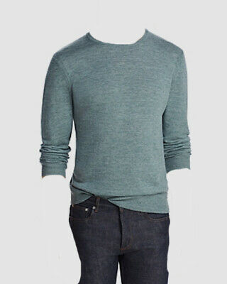 NEW BLOOMINGDALES OLIVE GREEN SPACEDYED COTTON LINEN CREWNECK SWEATER SIZE XL