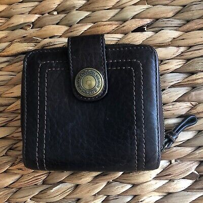 Coach Brown Leather Zip Around Wallet Small Snap Women's