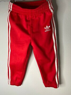 Adidas Red Joggers Boys Girls Age 18-24month 1 2 Years Bottoms Mini