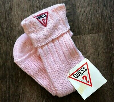 VTG 1980s GUESS SLOUCH SOCKS Pink TRIANGLE QUESTION MARK ASAP NWT Wigwams