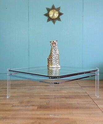 French lucite & glass coffee table