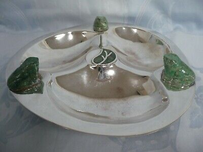 LOS CASTILLO SECTIONED SILVER PLATE BOWL w/TURQUOISE FROGS & INLAID CENTER