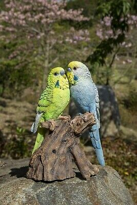 Singing Budgie Couple Bird Standing On Stump - Motion Activated Singing Figurine