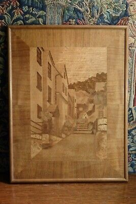 An Old Vintage * Folk Art * Marquetry Picture, The World Famous Clovelly, Devon