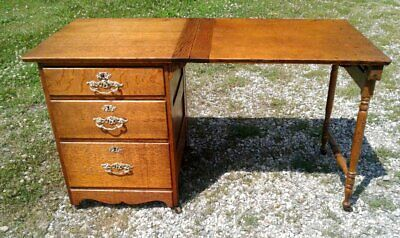 Antique Tiger Oak Sewing Cabinet with Swing Up Side Work Table 1890 Era