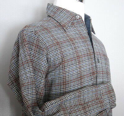 Pendleton Mens M Long Sleeve Wool Shirt, Black Blue Red Houndstooth Vintage USA
