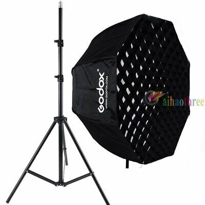 GODOX 80cm Octagon Umbrella Softbox With Grid + Light Stand For Flash Light