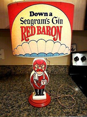 Vintage 1960's 70's Seagram's Gin Red Baron Figural Lamp Rare w Matching Shade