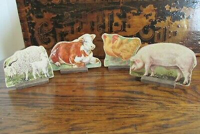 Four Antique Vintage Cardboard Farm Animals With Stands, Country, Toy, Primitive