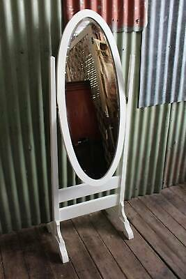 A Vintage White Painted Free Standing Cheval Mirror with Bevel Edge