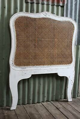 A Vintage French White Timber & Double Sided Rattan Bed Head