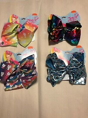 Lot of 2 JUSTICE Jojo Siwa Hair Bows Angel and Pugicorn NWT