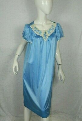 Vanity Fair Nightgown Blue Embroidery Long Nylon  In Size Medium