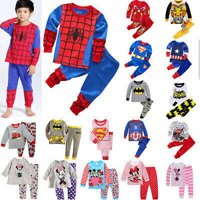 Size 1~8 Years Kids Pyjamas Winter Boys Girls Sleepwear Tshirt Nighttie Avenger