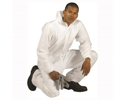 Disposable White Coveralls Hood Boiler Suit Painters Protective Suit Overall