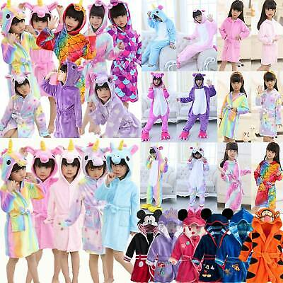 Mickey Unicorn Girls Kids Baby Fleece Bathrobe Nightwear Sleepwear Dressing Gown