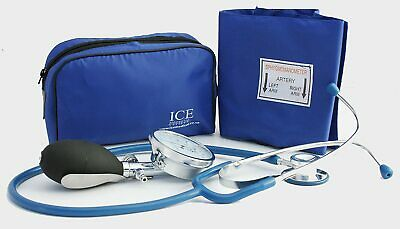 Aneroid Blue Sphygmomanometer With 1 Adult Cuff and Blue Stethoscope - Blood