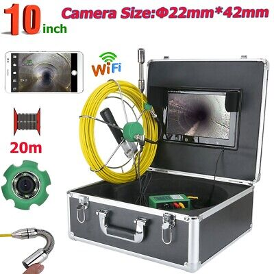 """20M 10"""" WiFi Wireless 22mm Industrial Pipe Sewer Inspection Video Camera System"""