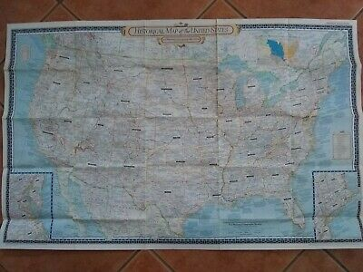 Vintage Original 1953 Historical Map Of The America USA National Geographic
