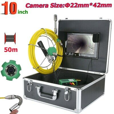 "Drain Pipe Sewer Inspection Video Camera with 50M Cable 10"" LCD Monitor IP68"