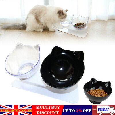 Non-slip Pet Double Bowl Feeding Station Dog Cat Food Water Bowls W/Raised Stand