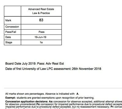 DISTINCTION LPC Advanced Real Estate/ Commercial Property 83% EMAIL ULAW