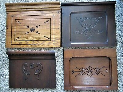 4 Victorian Walnut Oak Carvings Ornate Eastlake Furniture Panels Cabinet Parts
