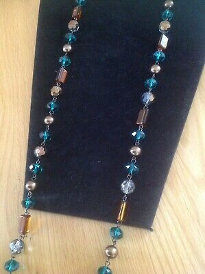 Vintage Art Deco Jewellery Faceted Glass Beads Long Necklace Multicoloured