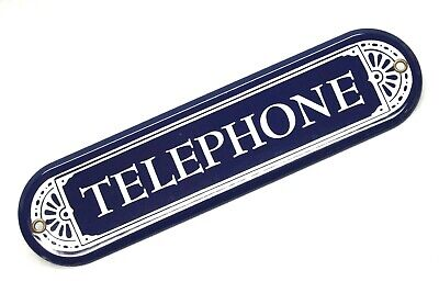 """Vintage Porcelain TELEPHONE Sign 10"""" Blue and White Enamel Phone Booth Metal"""