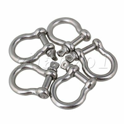 5PCS M6 Anchor Bow Shackle 304 Stainless Steel for Coupling Chain Wire Rope