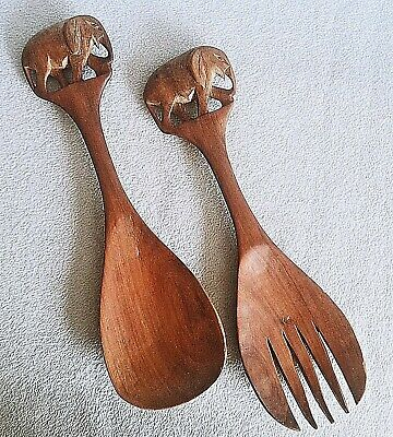 Vintage Hand Carved Wood FORK & SPOON SALAD UTENSILS Elephant Handles Wooden 12""