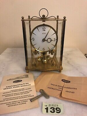 Kundo Brass & Glass Original 400 Day Clock With Key & Instructions (not Working)