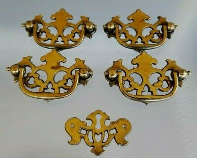 Reclaimed Brass Chippendale Drawer Pulls Pierced Back Plate Key Cover Escutcheon