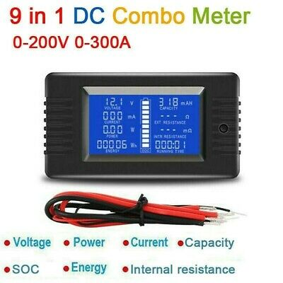 LCD digital DC 0-200V 300A Battery Monitor volt Ammeter Current Power Capacity