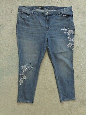 Womens Plus Size 24W blue jean pants Simply Vera Wang Skinny MidRise embroidery