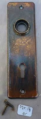 """Door Knob Back Plate flashed copper plated over brass  5 1/2""""h x 1 5/8""""w"""