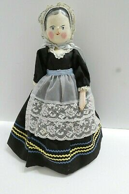 """11"""" Antique Penny Peg Wooden Jointed Hand painted Doll Dressed Woman EUC"""