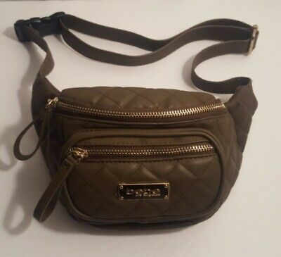 Bebe Los Angeles Woman's Brown Leather Adjustable Strap Double Pouch Fanny Pack