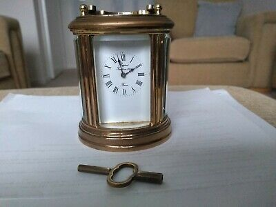 L'epee Miniature 8 Day Carriage Clock In Excellent Condition - Nice Patina + Key
