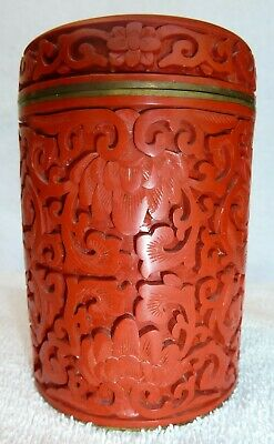 Antique Cinnabar Jar Box / Chinese Floral Lacquer / Perfect Condition