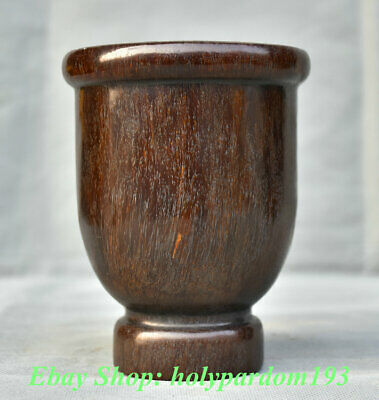 "5"" Marked Old Chinese ox horn Carving Dynasty Palace Goblet Drinking Cup"